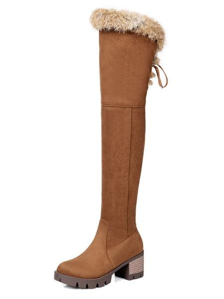 Milanoo Over The Knee Boots Womens Micro Suede Faux Fur Round Toe Chunky Heel Thigh High Boots