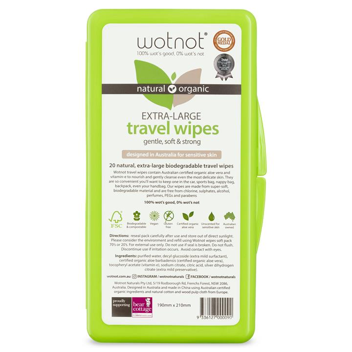 Wot not - Biodegradable Wipes - 20 pack with travel case
