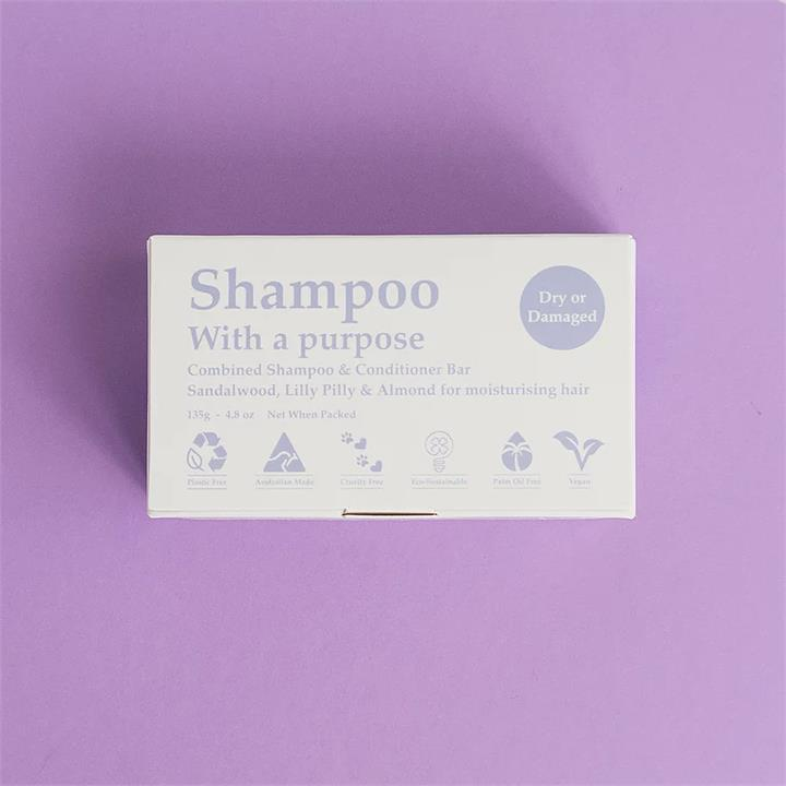 Shampoo With A Purpose - Shampoo and Conditioner Bar - Dry or Damaged (135g)