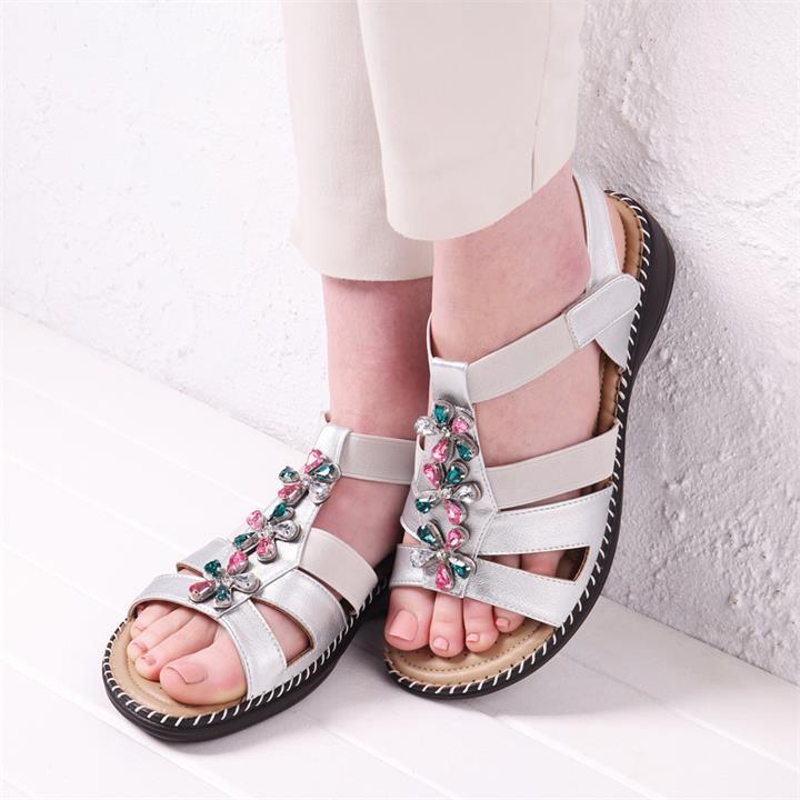 Image of Flower Trimmed Sandals - Silver