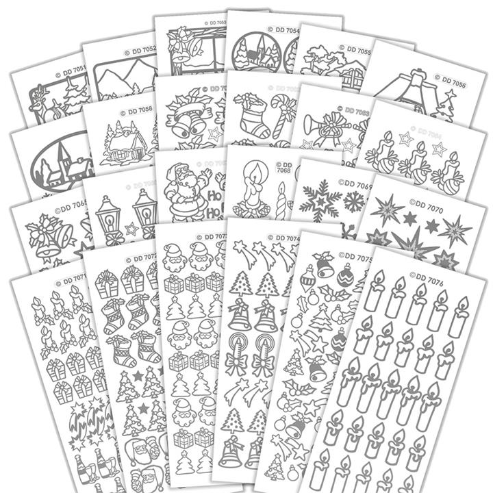 Image of Christmas Stickers 24 pieces Silver - Paper Crafts