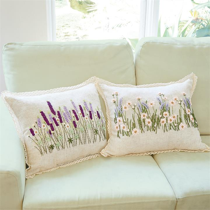 Image of Hand Embroidered Floral Cushion-Daisy