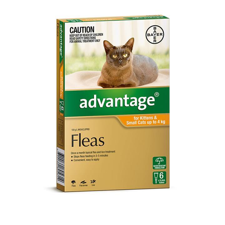 Image of Advantage Cat Up To 4Kg Orange 6 Pack