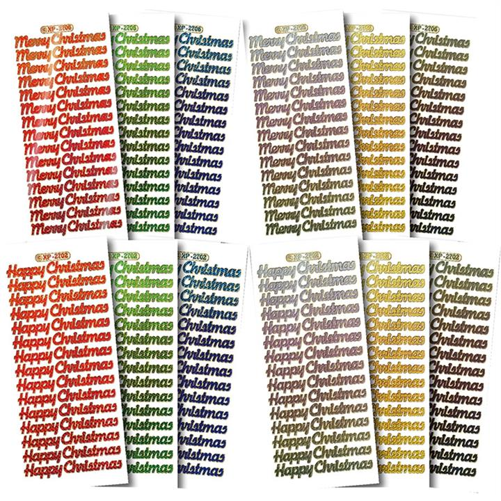 Image of Christmas Text Holographic Stickers Assorted Colours - Paper Crafts