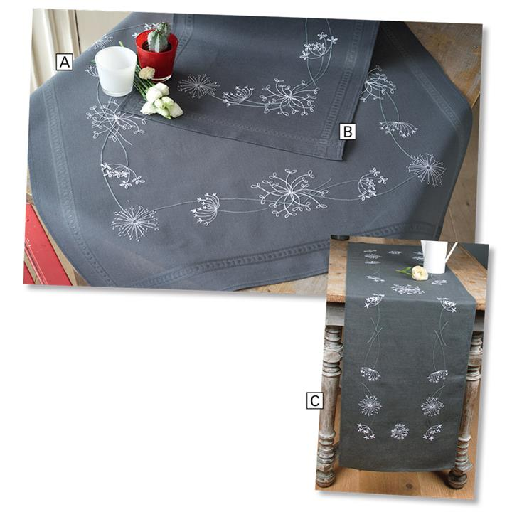 Image of White Flowers On Grey Table Runner