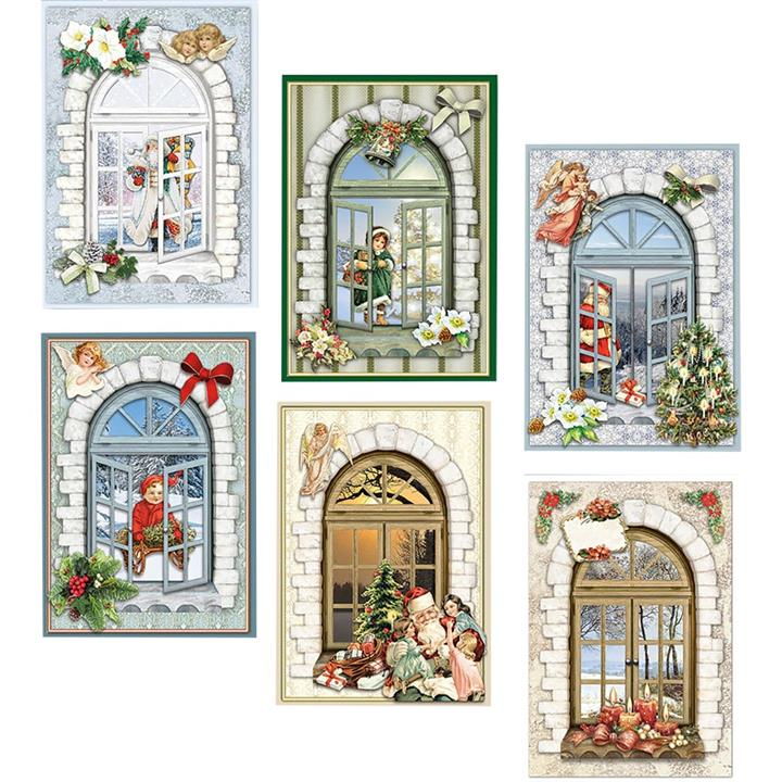 Image of 3D Christmas Window Cards wiith Decoupage Makes 6 - Paper Crafts