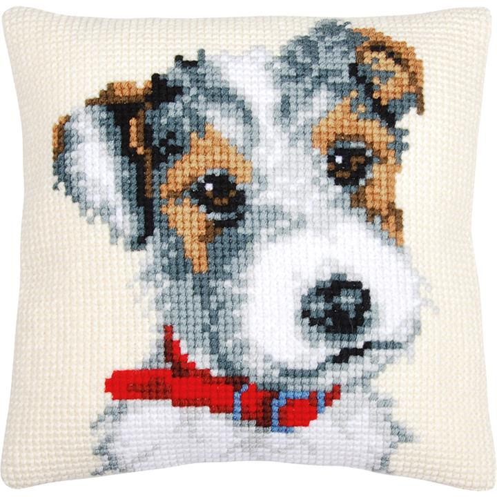 Image of Jack Russell With Red Collar Cushion