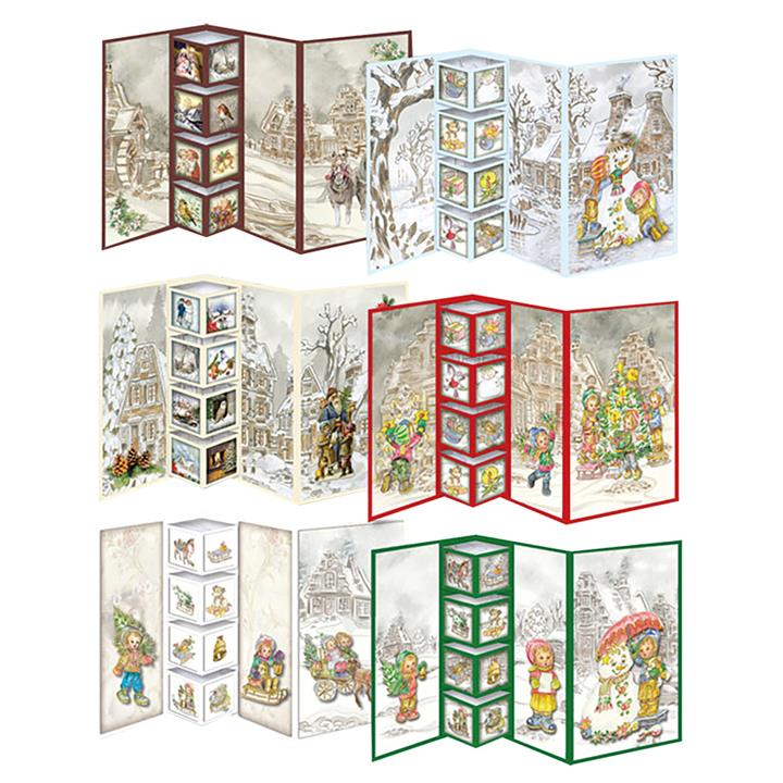 Image of 3D Christmas Folding Cards Book and Decoupage Makes 12 - Paper Crafts