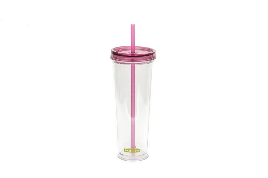 Neoflam Rever Double-Walled Hydration Cup with Straw 700ml Pink