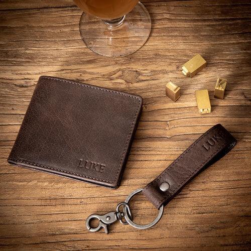 Personalised Brown Leather Wallet & Keyring Set