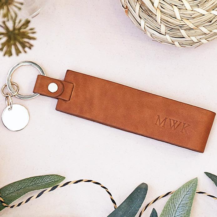 Personalised Women's Tan Leather Keyring