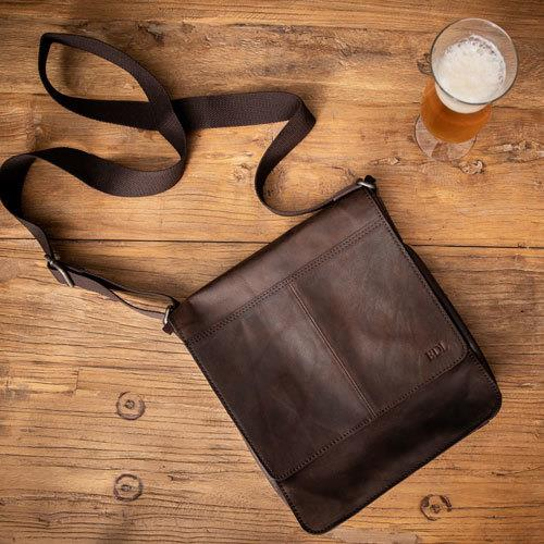 Men's Leather 'North South' Messenger Bag with Monogram