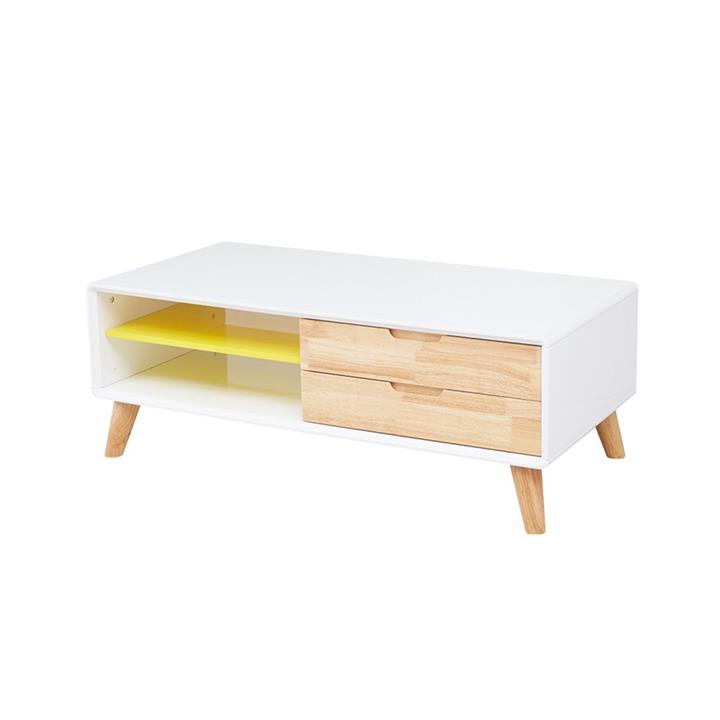 Scandinavian Low Line Entertainment unit or Coffee table - 120cm - white - natural