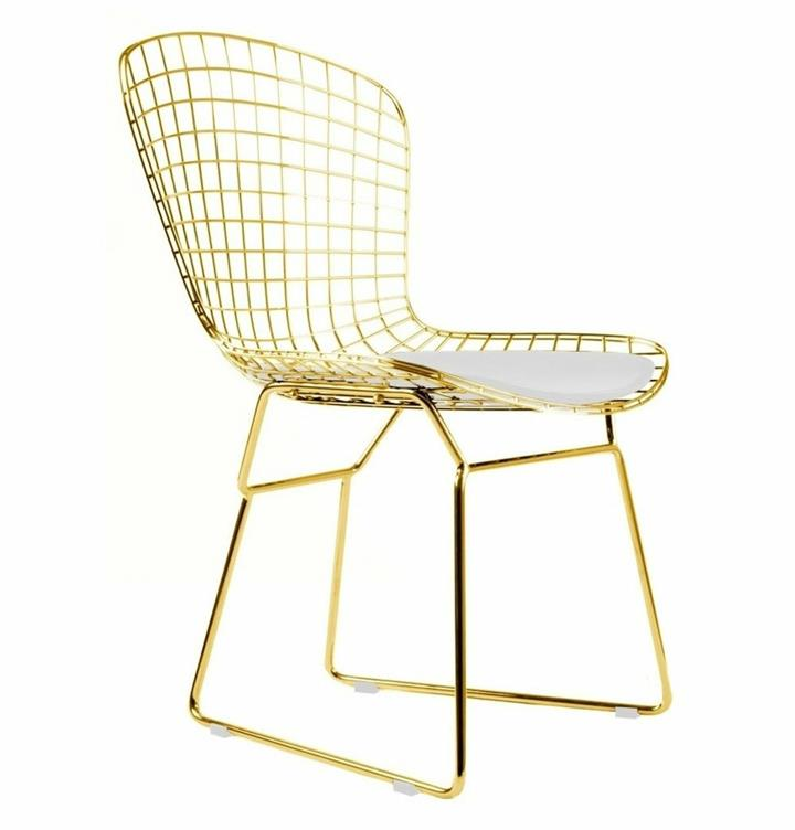 Replica Harry Bertoia Bird Chair Gold Version with white or black cushion