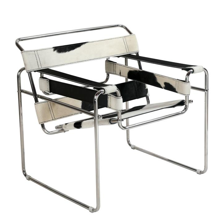 Replica Wassily Lounge Chair - black and white cowhide leather by Marcel Breuer