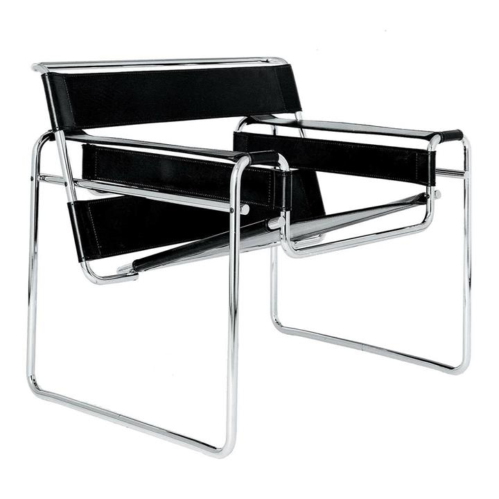 Replica Wassily Lounge Chair - black leather by Marcel Breuer