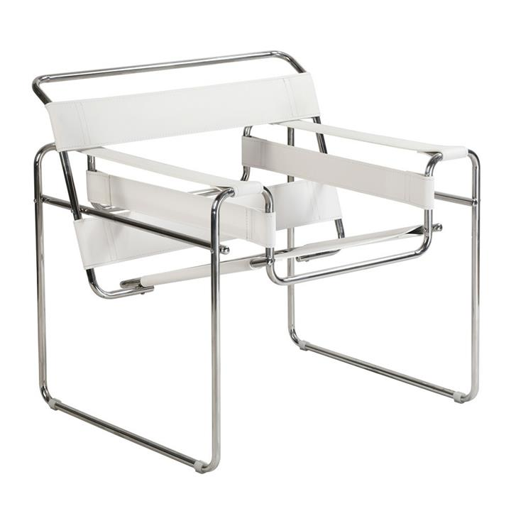 Replica Wassily Lounge Chair - white leather by Marcel Breuer