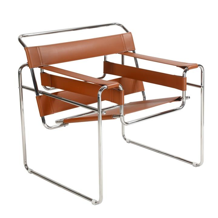 Replica Wassily Lounge Chair - tan imitation of leather by Marcel Breuer