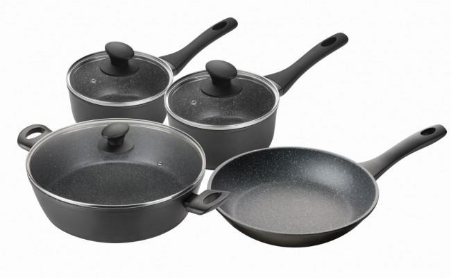 Pyrolux Pyrostone 4 Piece Cookware Set Fry Pan 26cm Saucepan 16 and 20cm Chef Pan 30cm