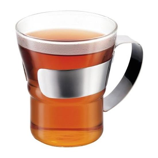 Bodum Assam Tea Glass with steel handle 300ml Set Of 2
