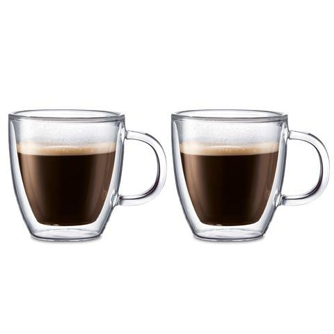 Bodum Bistro Double Wall Glass Espresso Mug 150ml Set Of 2