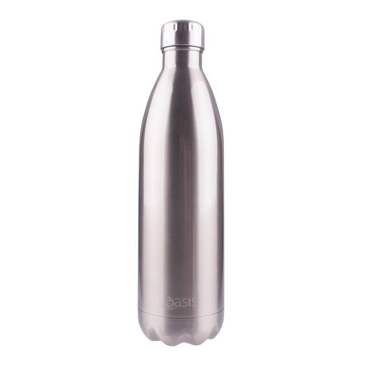 Oasis Stainless Steel Insulated Drink Bottle 1 Ltr Silver