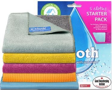 E Cloth Starter Pack 5 Pc - Kitchen Bathroom Window General Purpose Glass SPB