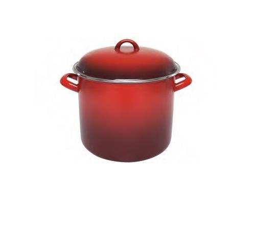 Chasseur Enamel Stock Pot Red 24 x 20cm/8.2 Litre